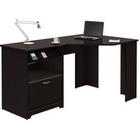 BUSH FURNITURE Cabot Collection:60-inch Corner Computer Desk, Espresso Oak
