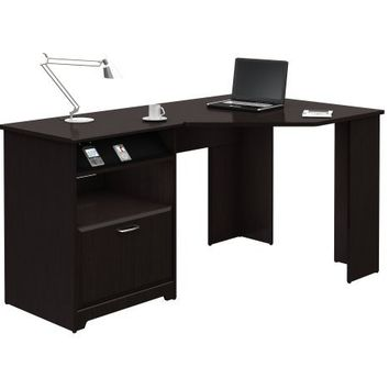 Cabot Collection:60-inch Corner Computer Desk, Espresso Oak