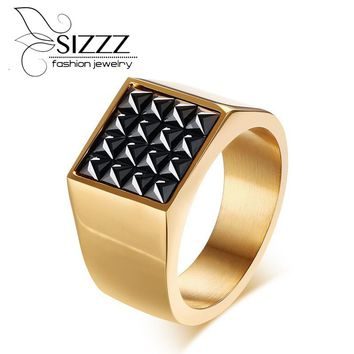 SIZZZ  Bijoux Rings Jewelry Stainless Steel Square Black Cz Cubic Zirconia Pave Signet Ring for Men