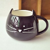 DOYOLLA Lovely Cute Little Black Cat Coffee Milk Ceramic Mug Cup (Black)