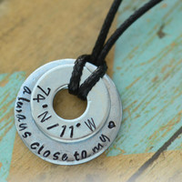 Always Close To My Heart - Latitude Longitude Metal Stamped Necklace