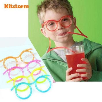 ICIK272 Hot! Funny  Soft Plastic Straw Glasses Unique Flexible Drinking Tube Kids Party Bar Accessories