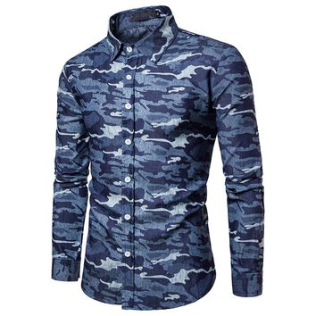 Men's Camouflage Print Washed Jean Shirt