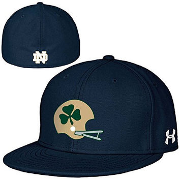 Under Armour NCAA Notre Dame Fighting Irish Armour Flat Brim Stretch Fit Hat Cap-Helmet with Shamrock Graphic-L/XL