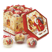 Birdhouse Santa Christmas Frosted Ornament Box Set