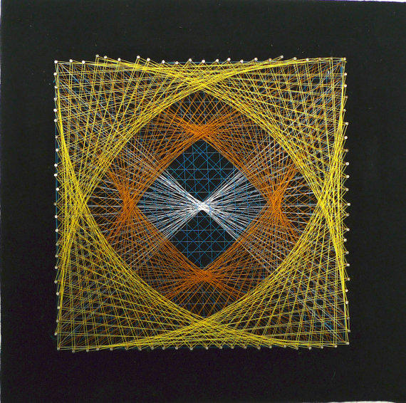 Vintage String Art Square Geometric From Lastmountainmisc