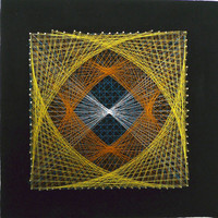 Vintage String Art Square Geometric Design - Yellow, Orange, Blue and White string on Black Background Star Burst Space Op Art Abstract 80s
