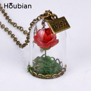 Houbian 20pcs/lot Vintage Glass Dried Flower Wishing Bottle Necklace Rose Valentine'S Day Gift Handmade Beauty beast  Jewelry