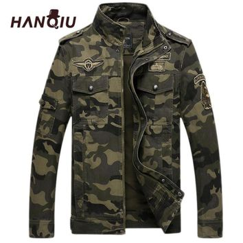 Trendy HANQIU Brand Camo Bomber Jacket Men 2018 Autumn Camouflage Coat Army Military Windbreake Camo Male Jacket Jaqueta Masculino AT_94_13