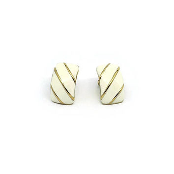 Gold And White Earrings | Unworn Vintage | Gold Plated Earrings | NOS Earrings | 80's Gold Earrings | Made In England