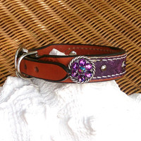 Purple Concho Dog Collar,  LeAtHeR CoLLar, Swarovski Crystal, Pet Collar, Brown Leather Collar, 14 inch Collar, Bling DoG CoLLar