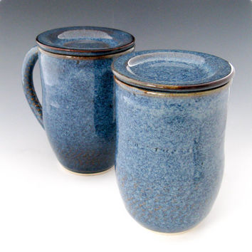 Denim Blue Lidded Coffee Mug - Ceramic Mug with Cover - Pottery Coffee Mug