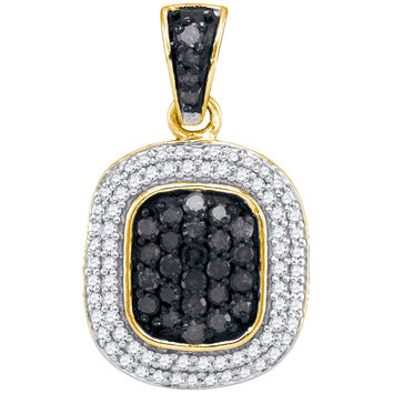 Black Diamond Micro-pave Pendant in 10k Gold 0.5 ctw