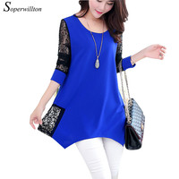 2016 Shirt Women For Work and Casual Women Blouses O-neck Plus Size 6XL Blusas Patch Lace Blouse Long Sleeve Female Shirts D502