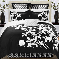 Chic Home Sire 7-Piece Comforter Set King Size, Black; Bedskirt, Four Shams and Decorative Pillow Included