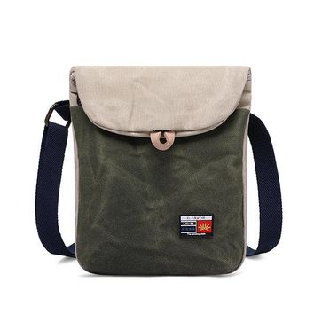 Vintage Casual Shoulder Oil Wax Canvas Crossbody Bag For Men