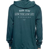 Dark Seas Avante Garde Dark Teal Hooded Long Sleeve T-Shirt