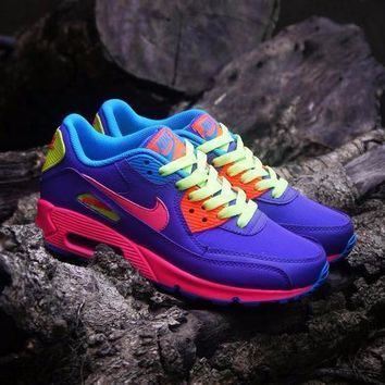 Sale Nike Air Max WMNS 90 GS Candy Purple Pink Blue Orange Running Shoes Sport Shoes