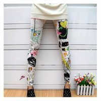 Punk Style Scrawl Color Print Pattern Elastic Cotton Leggings China Wholesale - Sammydress.com