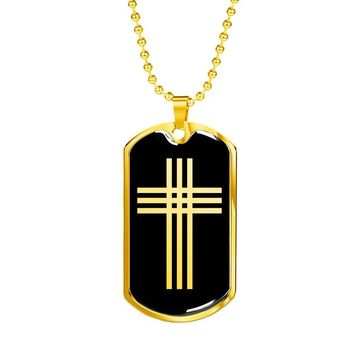 Stylized Cross v2 - 18k Gold Finished Luxury Dog Tag Necklace