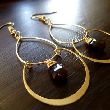 ALMANDINE - Faceted Natural Purplish Red Garnet Pear Briolette Chandelier Earrings