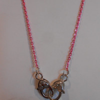 19 inch long pink Maternity Necklace with heart clasps, Ring holder necklace, N-1232