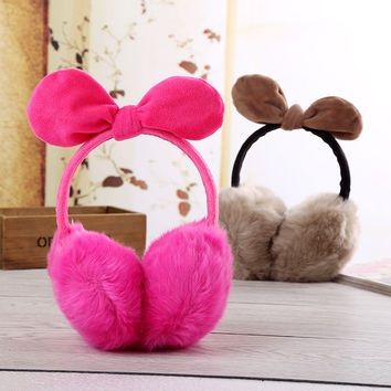 Women Earmuffs Winter Ear Covers Earmuffs Warm Imitation Rabbit Hair Girl's Earflap Ladie's Cute Eartab Plush Ears Muffs P30T
