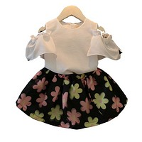Girls Clothes Baby Girl Children's Clothing Girls T-Shirt + Flower Dress  2pcs Suit Clothing Set