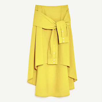 MIDI SKIRT WITH SLEEVE DETAIL DETAILS