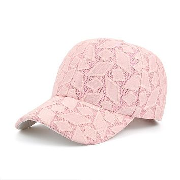 Hot Curved Bill Strapback Vent Baseball Caps Women Breathable Lace Geometric Diamond Pattern Snapback Hats Girls Casual Gorras