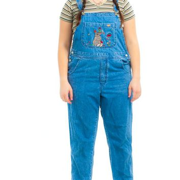 Vintage 90's Bear-y Cute Embroidered Overalls - XL