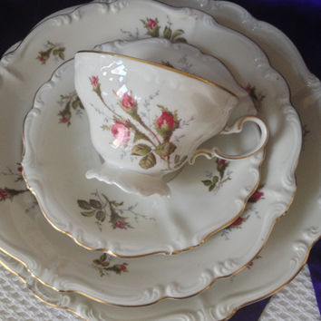 Rosenthal Moss Rose 4 Piece Place Setting with Teacup, Pompadour Ivory Fine China, Germany, 1960s Cottage Decor Collectible Porcelain