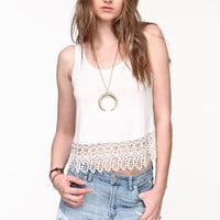 CROCHET TRIM JERSEY TOP