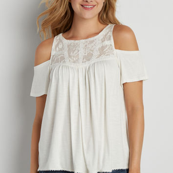 cold shoulder swing tee with lace yoke | maurices