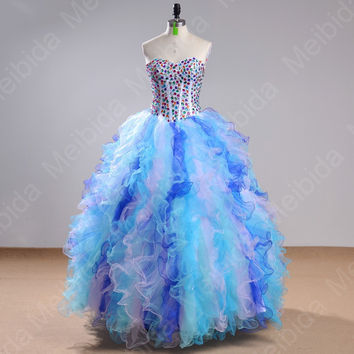 Real Image Rainbow Colored 2015Quinceanera Dress Beaded Corset Plus Size Sweet15 Anos Ball Gown Mordern Quinceanera Dress