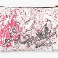 'Red and white marble texture.' Studio Pouch by kakapostudio