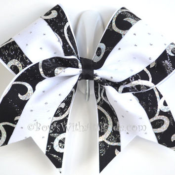 "3"" Wide Luxury Cheer Bow -   Black & White Swirl Sparkle"