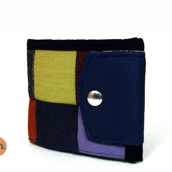 Vegan Wallet for Man, for Woman, Patchwork Wallet, Newsboy Cap, Cool Wallet with Coin Pocket and Card Holder - Handmade Custom Order