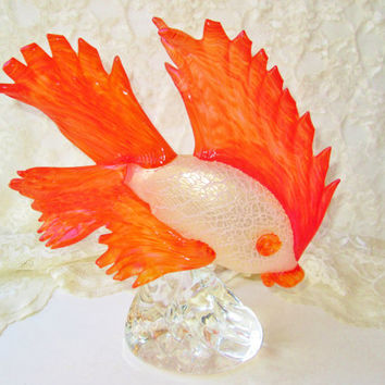 Huge Swarovski Crystal Siamese Fighting Fish Sculpture Vintage RARE Retired Collectible Fish Blown Glass Art Figurine Unique Home Decor