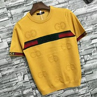 GUCCI Women Summer New Fashion Letter Sstripe Knit Short Sleeve Top T-Shirt Yellow