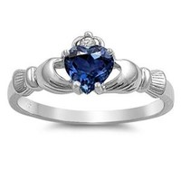 Claddagh Ring 925 Sterling Silver AAA Quality Blue Sapphire Heart Promise Ring