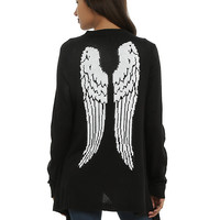 Black & White Angel Wing Girls Flyaway Cardigan
