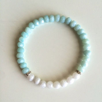 Creativity and Intuition ~ Genuine Round Moonstone & Faceted Amazonite Bracelet w/ Swarovski Crystal Spacers  ~ 6mm Beads