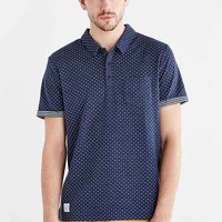 Native Youth Double Faced Polka Dot Polo Shirt- Navy