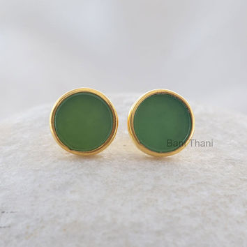 Genuine Green Chrysoprase 9mm Round Flat Stud Beautiful Micron Gold Plated 925 Sterling Silver Earring Jewelry - #1641