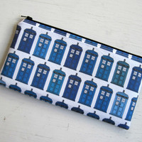 Dr Who Tardis Zipper Pouch, Pencil Pouch, Pencil Case, Gadget Bag, Make Up Bag