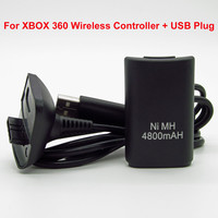 2015 Hot 4800mAh battery pack with USB Charging Cable for Microsoft Xbox 360 Wireless Controller 2 in1 Cable charger kit