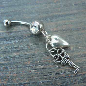 key to my heart belly ring steampunk  boho hippie belly dancer fantasy gypsy and hipster style