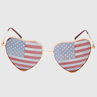 Patriotic Heart Sunglasses - Gold - One Size / Multi
