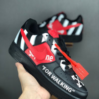 HCXX 19June 1091 Nike Air Force 1 x Off White For Walking x supreme Leather Skate Shoes